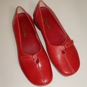 Clarks Red Leather Slip-ons/Loafers